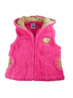 Veste polaire sans manche bébé Métabief rose fushia