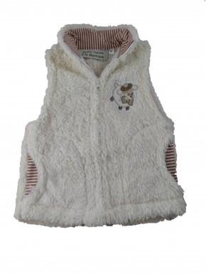 Veste polaire sans manche bébé Carroz écru