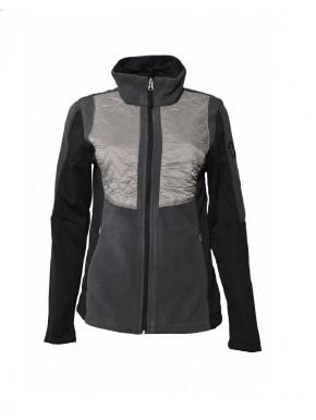 Veste polaire multi-matières femme noir/gris