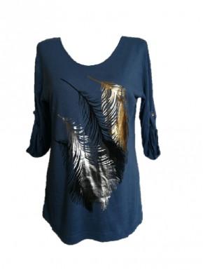 Tunique femme bleu motif plume