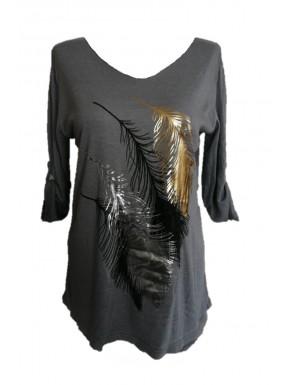 Tunique femme grise motif plumes