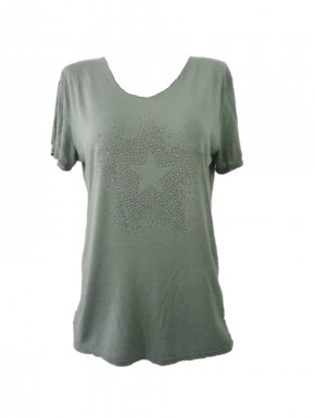 Tee-shirt femme motif Etoile vert kaki