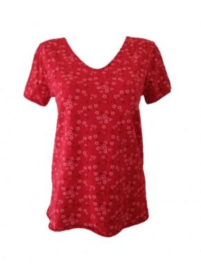 Tee-shirt femme Rouge à Fleurs