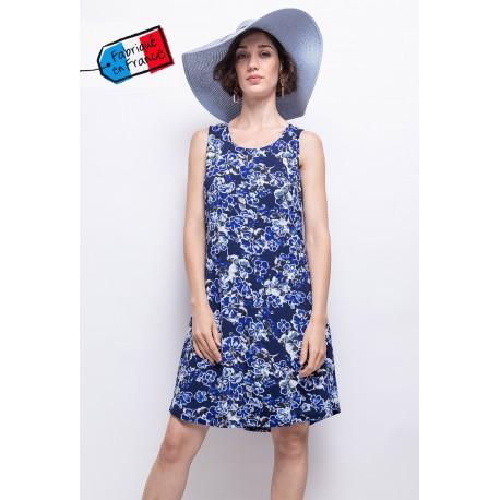 Robe nuancée bleu avec imprimé Fleurs