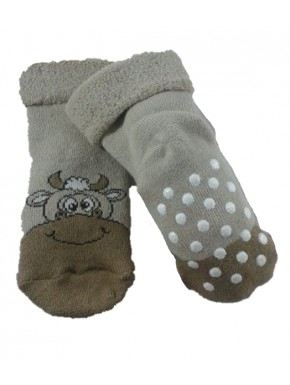 Chaussettes antidérapantes Vache taupe
