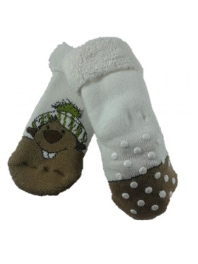 Chaussettes antidérapantes Marmottes Blanches