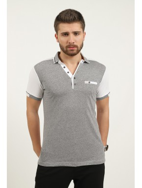 Polo Homme casual gris blanc